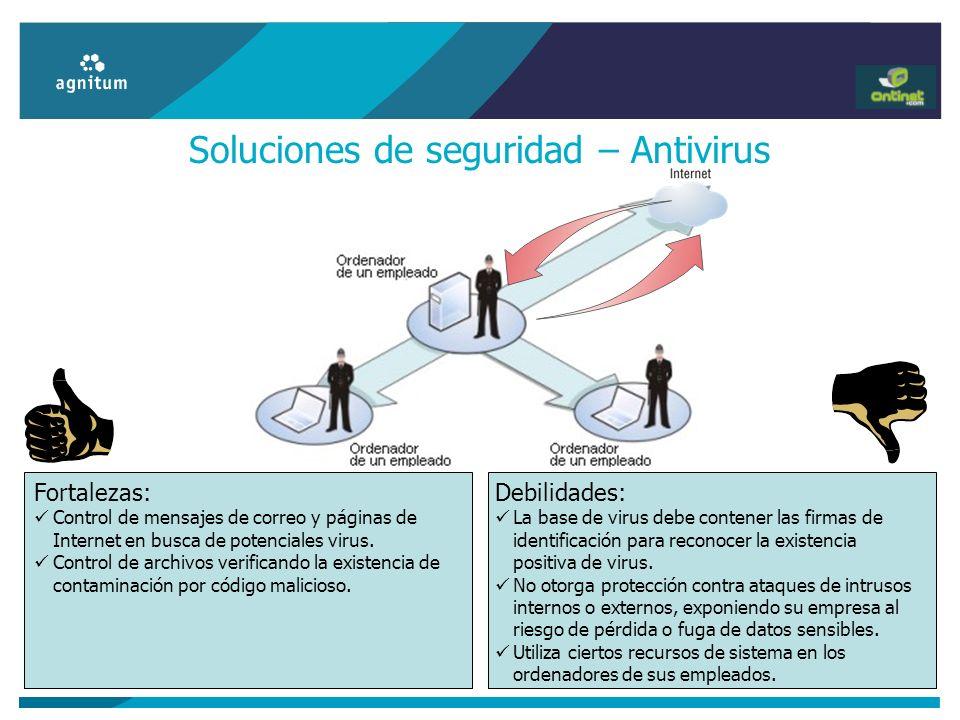Soluciones de seguridad – Antivirus Debilidades: La base de virus debe contener las firmas de identificación para reconocer la existencia positiva de