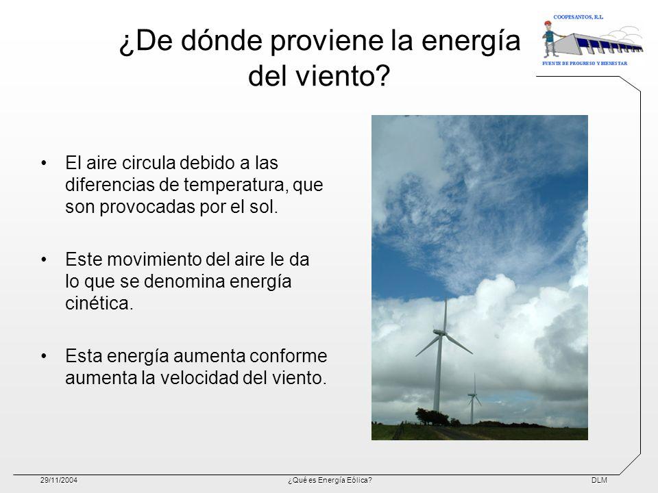 DLM29/11/2004¿Qué es Energía Eólica? ¿De dónde proviene la energía del viento? El aire circula debido a las diferencias de temperatura, que son provoc