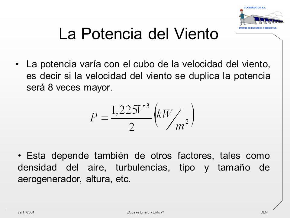 DLM29/11/2004¿Qué es Energía Eólica? La Potencia del Viento La potencia varía con el cubo de la velocidad del viento, es decir si la velocidad del vie