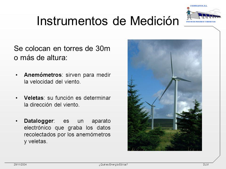 DLM29/11/2004¿Qué es Energía Eólica? Instrumentos de Medición Anemómetros: sirven para medir la velocidad del viento. Veletas: su función es determina