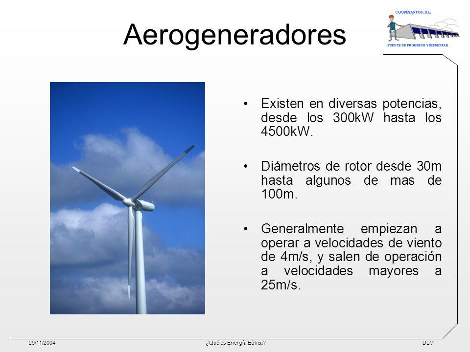 DLM29/11/2004¿Qué es Energía Eólica? Aerogeneradores Existen en diversas potencias, desde los 300kW hasta los 4500kW. Diámetros de rotor desde 30m has