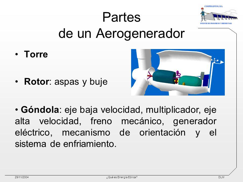 DLM29/11/2004¿Qué es Energía Eólica? Partes de un Aerogenerador Torre Rotor: aspas y buje Góndola: eje baja velocidad, multiplicador, eje alta velocid