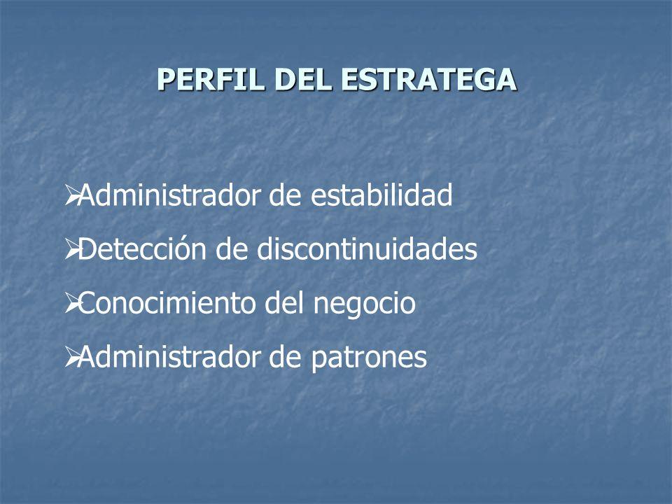 PERFIL DEL ESTRATEGA Administrador de estabilidad Detección de discontinuidades Conocimiento del negocio Administrador de patrones