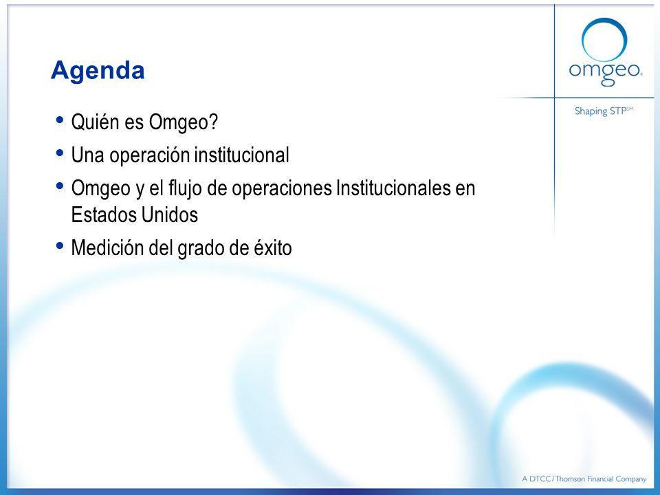 Agenda Quién es Omgeo? Una operación institucional Omgeo y el flujo de operaciones Institucionales en Estados Unidos Medición del grado de éxito