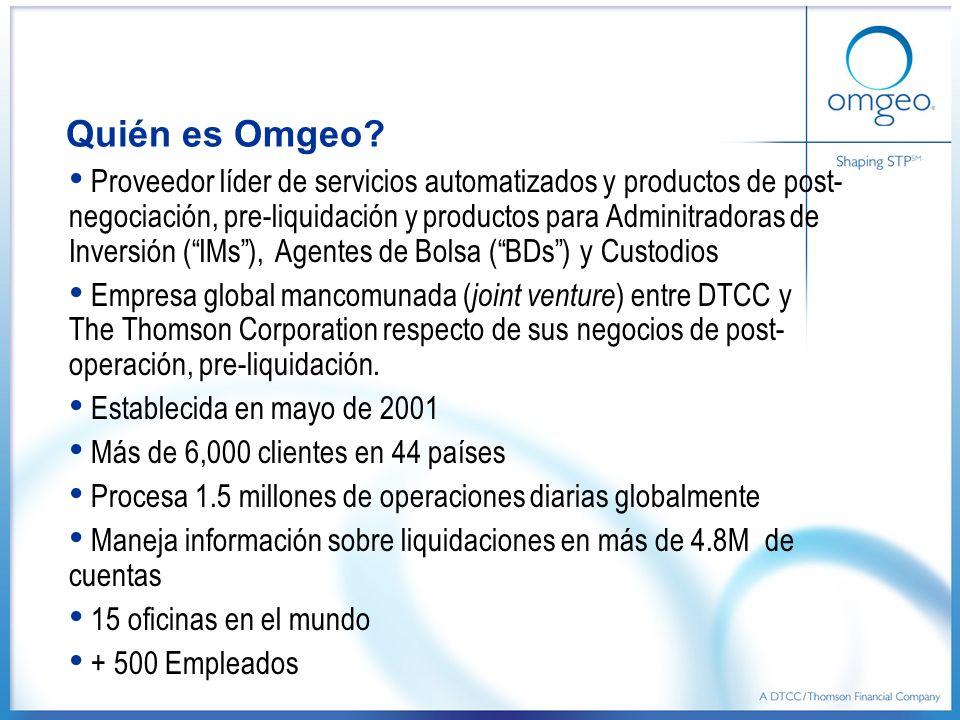 Quién es Omgeo? Proveedor líder de servicios automatizados y productos de post- negociación, pre-liquidación y productos para Adminitradoras de Invers
