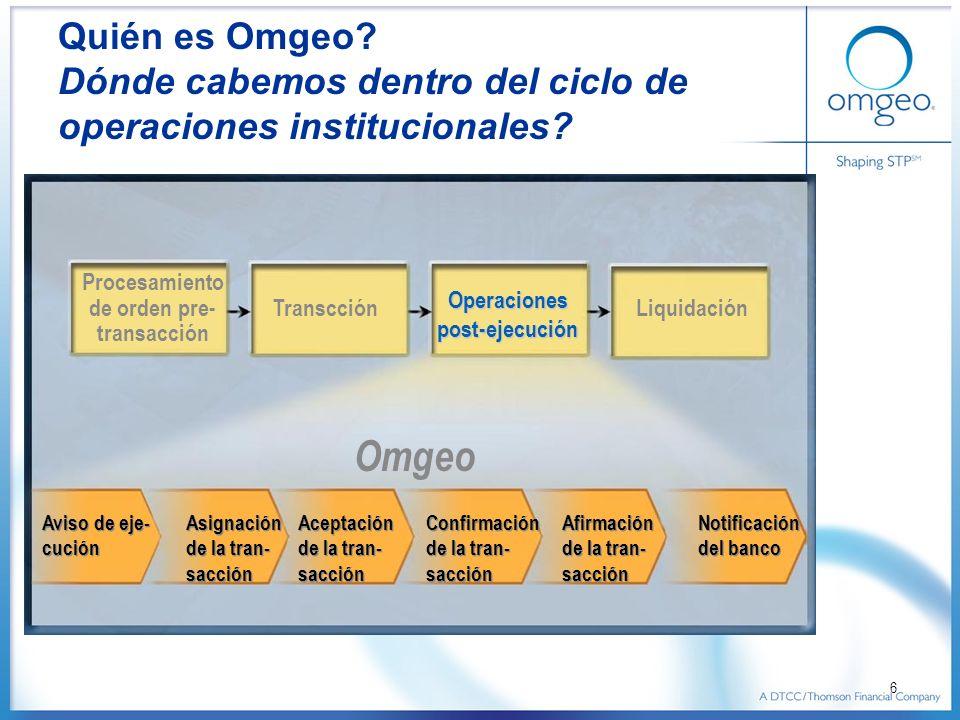 6 Quién es Omgeo? Dónde cabemos dentro del ciclo de operaciones institucionales? Procesamiento de orden pre- transacción Transcción Operaciones post-e