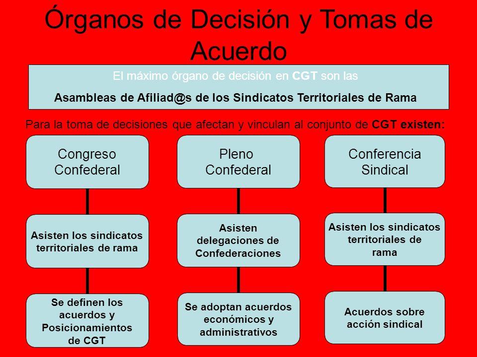 Órganos de Decisión y Tomas de Acuerdo El máximo órgano de decisión en CGT son las Asambleas de Afiliad@s de los Sindicatos Territoriales de Rama Para