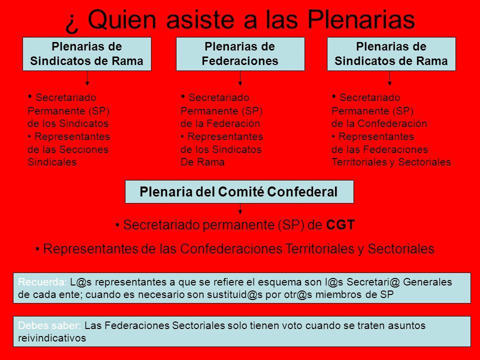 Entes Coordinadores en CGT Comités Federales ( Federaciones Territoriales ) Secretariado Permanente ( SP ) Representantes de los Sindicatos de Rama Comités Confedérales (Confederaciones Territoriales ) Secretariado Permanente ( SP ) Representantes de las Federaciones Territoriales y de Sector Comité Confederal del Conjunto de CGT Secretariado Permanente ( SP ) Representantes de las Confederaciones Territoriales y de Sector Secretariados Permanentes ( SP ) Son órganos que coordinan los acuerdos en los distintos entes de CGT, desde la Sección Sindical de empresa, pasando por el Sindicato, Federación y Confederación territorial, hasta el conjunto de CGT.