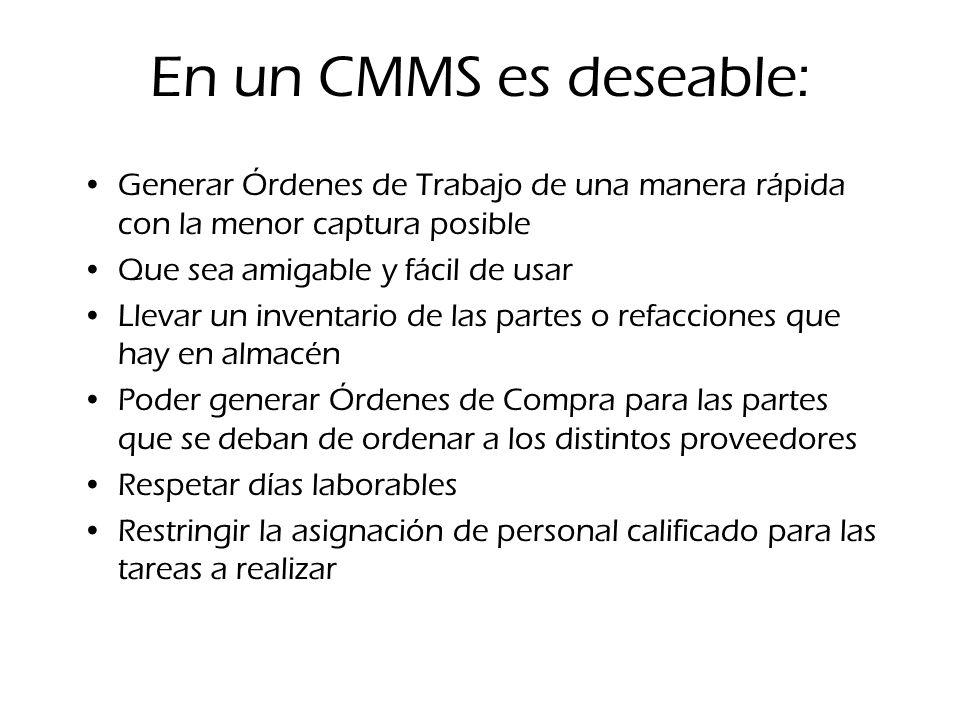 En un CMMS es deseable: Generar Órdenes de Trabajo de una manera rápida con la menor captura posible Que sea amigable y fácil de usar Llevar un invent