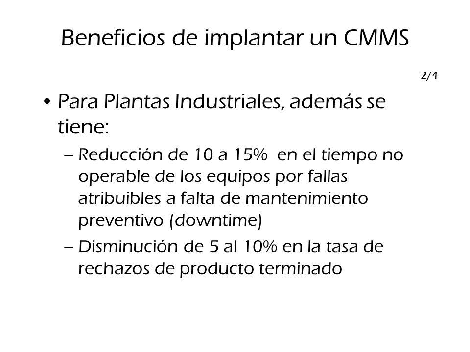 Para Plantas Industriales, además se tiene: –Reducción de 10 a 15% en el tiempo no operable de los equipos por fallas atribuibles a falta de mantenimi