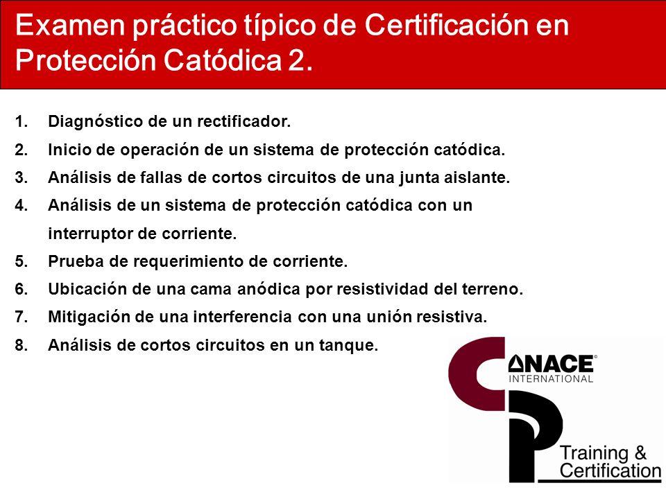 Examen práctico típico de Certificación en Protección Catódica 2. 1.Diagnóstico de un rectificador. 2.Inicio de operación de un sistema de protección