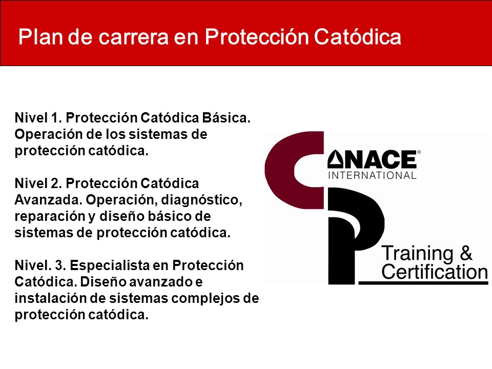 Plan de carrera en Protección Catódica Nivel 1. Protección Catódica Básica. Operación de los sistemas de protección catódica. Nivel 2. Protección Cató