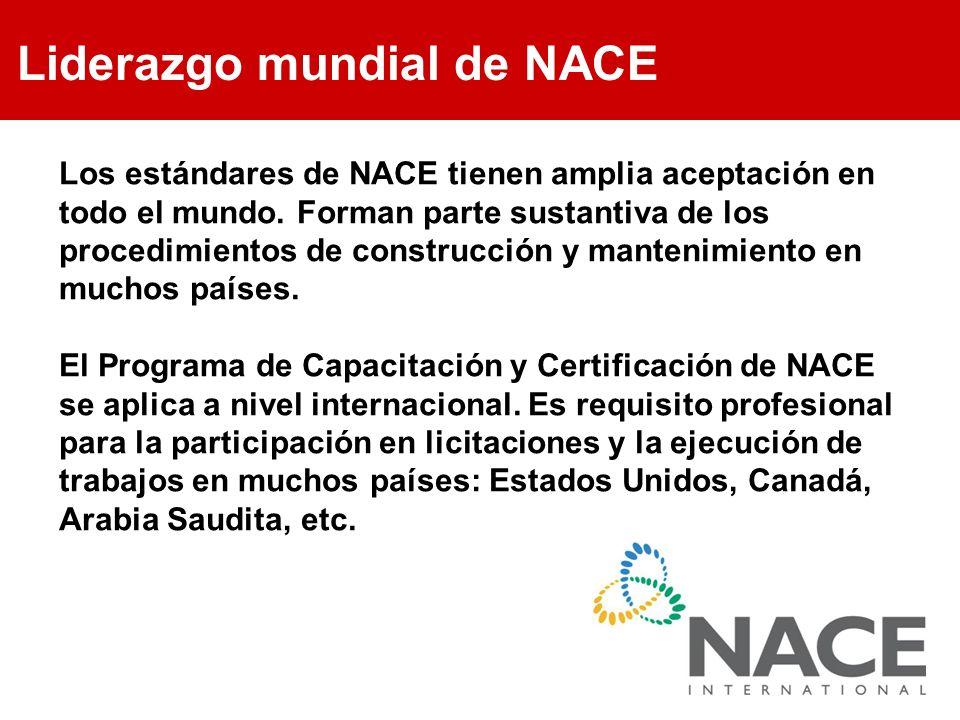 Liderazgo mundial de NACE Los estándares de NACE tienen amplia aceptación en todo el mundo. Forman parte sustantiva de los procedimientos de construcc