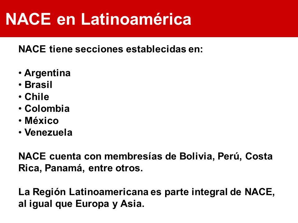 NACE en Latinoamérica NACE tiene secciones establecidas en: Argentina Brasil Chile Colombia México Venezuela NACE cuenta con membresías de Bolivia, Pe