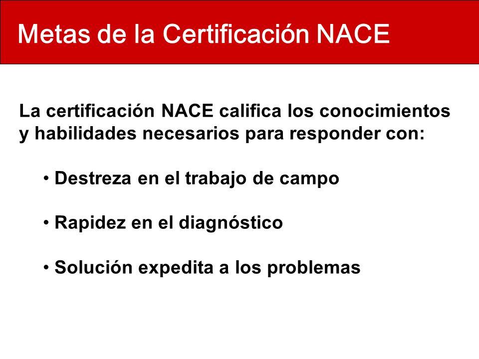Metas de la Certificación NACE La certificación NACE califica los conocimientos y habilidades necesarios para responder con: Destreza en el trabajo de