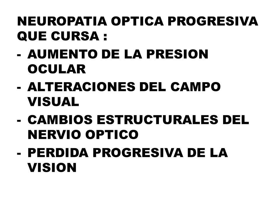 NEUROPATIA OPTICA PROGRESIVA QUE CURSA : -AUMENTO DE LA PRESION OCULAR -ALTERACIONES DEL CAMPO VISUAL -CAMBIOS ESTRUCTURALES DEL NERVIO OPTICO -PERDIDA PROGRESIVA DE LA VISION