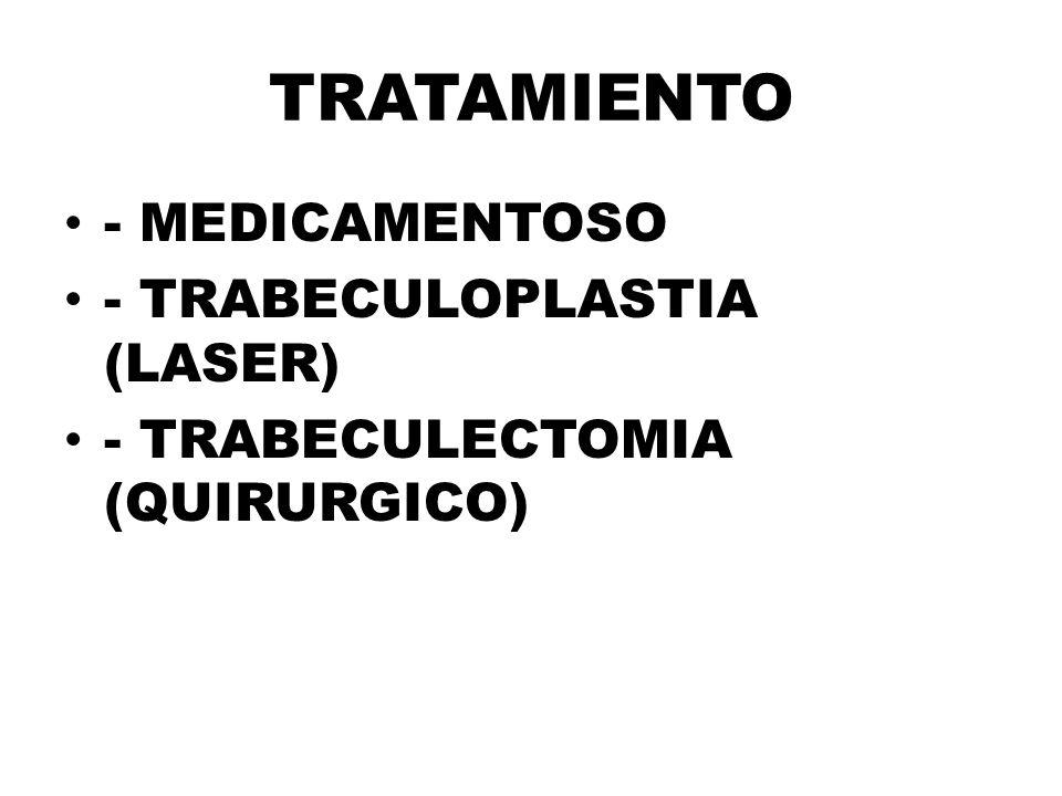 TRATAMIENTO - MEDICAMENTOSO - TRABECULOPLASTIA (LASER) - TRABECULECTOMIA (QUIRURGICO)