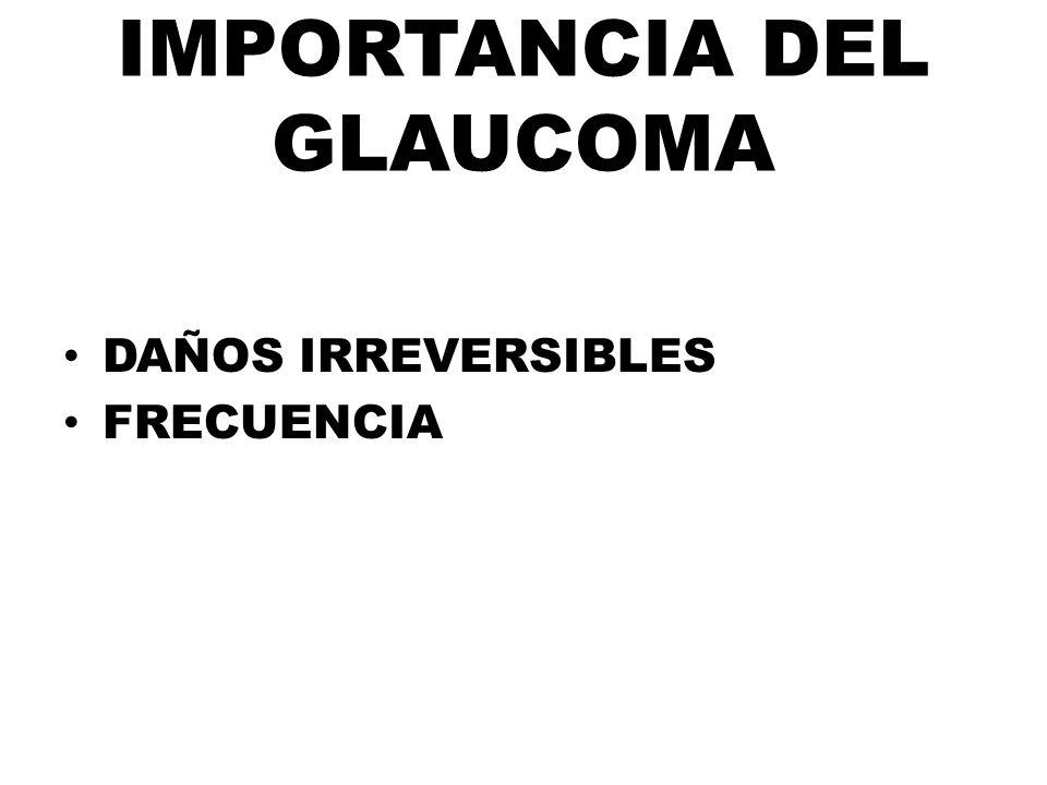 IMPORTANCIA DEL GLAUCOMA DAÑOS IRREVERSIBLES FRECUENCIA