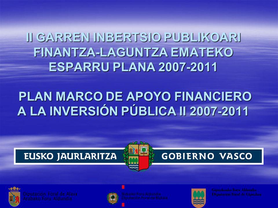 II GARREN INBERTSIO PUBLIKOARI FINANTZA-LAGUNTZA EMATEKO ESPARRU PLANA 2007-2011 PLAN MARCO DE APOYO FINANCIERO A LA INVERSIÓN PÚBLICA II 2007-2011