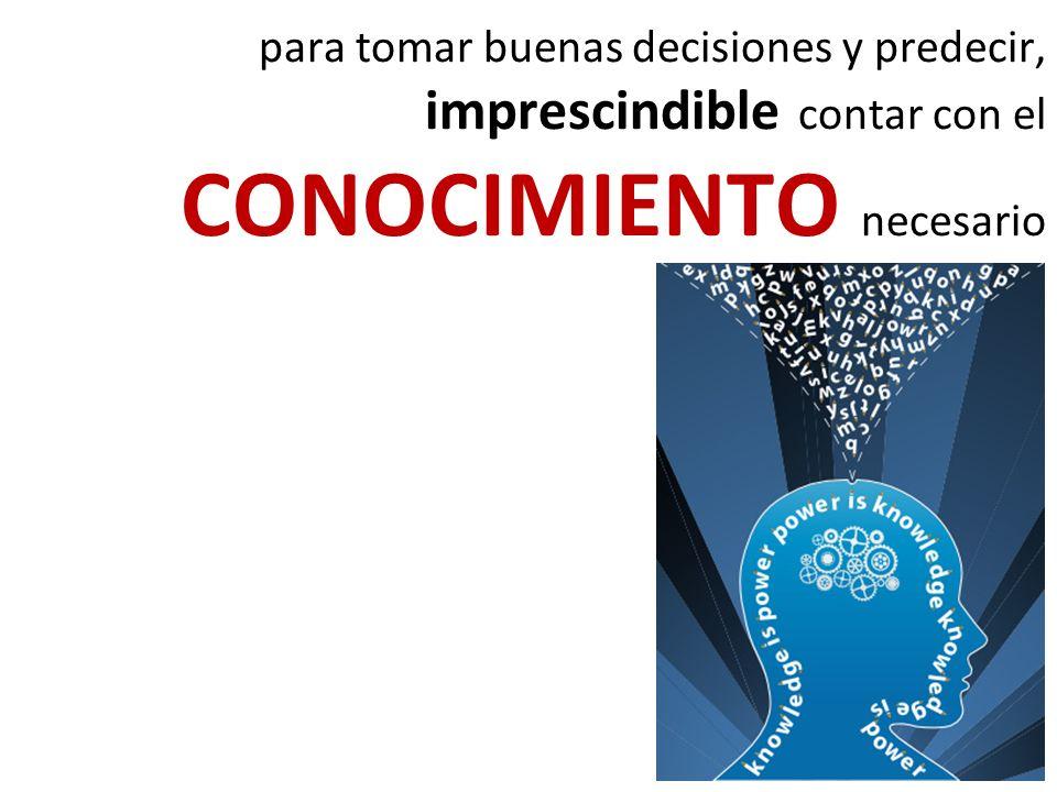 para tomar buenas decisiones y predecir, imprescindible contar con el CONOCIMIENTO necesario