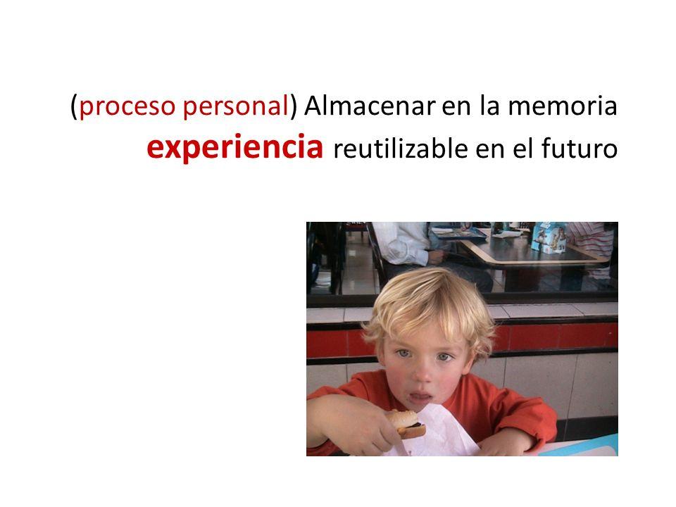 (proceso personal) Almacenar en la memoria experiencia reutilizable en el futuro