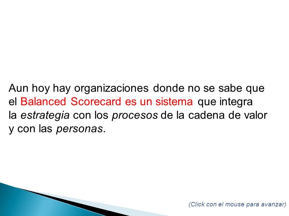 (Click con el mouse para avanzar) Aun hoy hay organizaciones donde no se sabe que el Balanced Scorecard es un sistema que integra la estrategia con los procesos de la cadena de valor y con las personas.