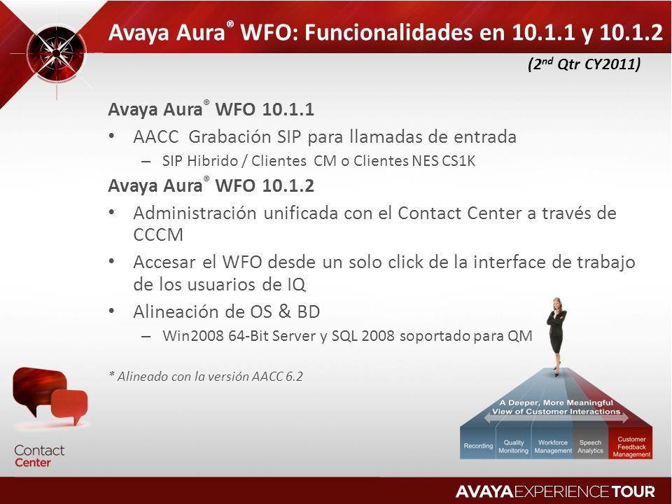 Avaya Aura ® WFO: Funcionalidades en 10.1.1 y 10.1.2 Avaya Aura ® WFO 10.1.1 AACC Grabación SIP para llamadas de entrada – SIP Hibrido / Clientes CM o