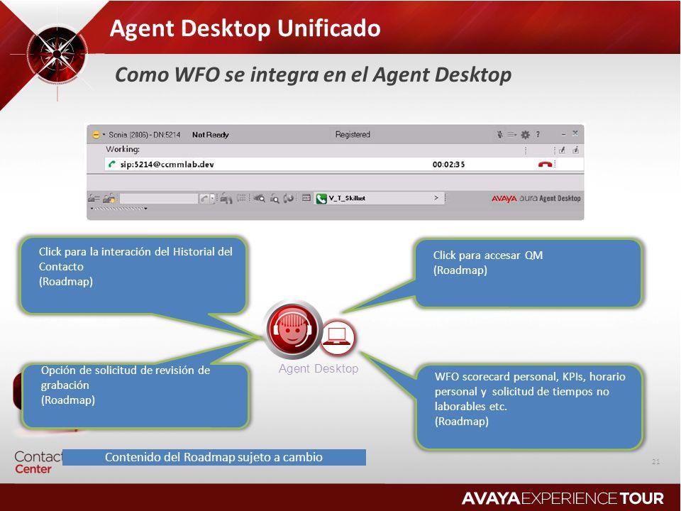 Agent Desktop Unificado Agent Desktop WFO scorecard personal, KPIs, horario personal y solicitud de tiempos no laborables etc. (Roadmap) Click para ac