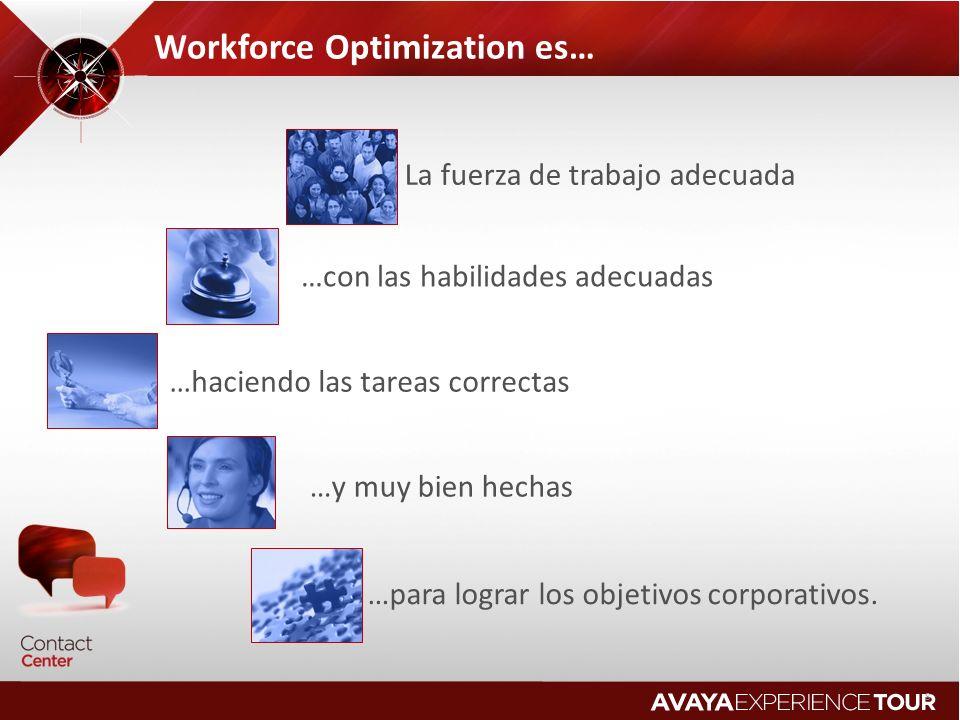 8 Workforce Optimization es… La fuerza de trabajo adecuada …con las habilidades adecuadas …haciendo las tareas correctas …y muy bien hechas …para logr