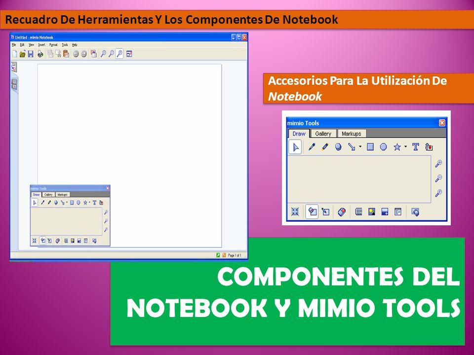 COMPONENTES DEL NOTEBOOK Y MIMIO TOOLS Recuadro De Herramientas Y Los Componentes De Notebook Accesorios Para La Utilización De Notebook
