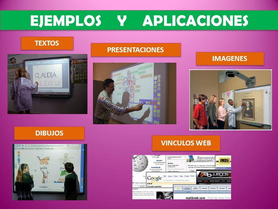 EJEMPLOS Y APLICACIONES VINCULOS WEB PRESENTACIONES IMAGENES DIBUJOS TEXTOS