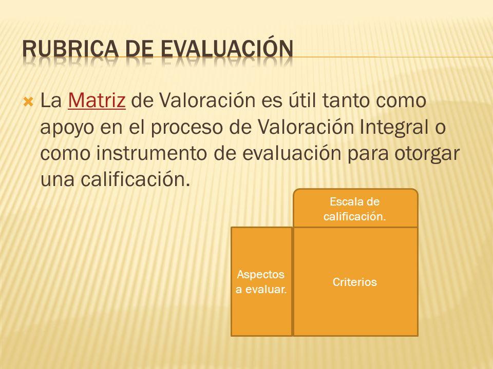 La Matriz de Valoración es útil tanto como apoyo en el proceso de Valoración Integral o como instrumento de evaluación para otorgar una calificación.Matriz Criterios Escala de calificación.