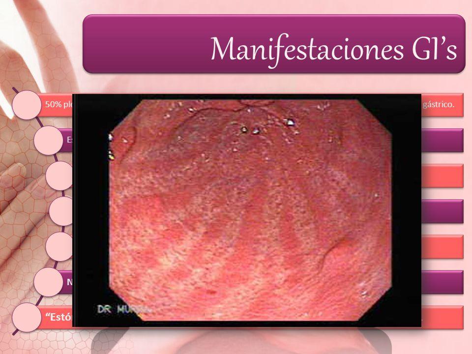 Manifestaciones GIs 50% plenitud gástrica, dolor urente en epigastrio o región retroesternal y regurgitación del contenido gástrico. Esofagitis péptic