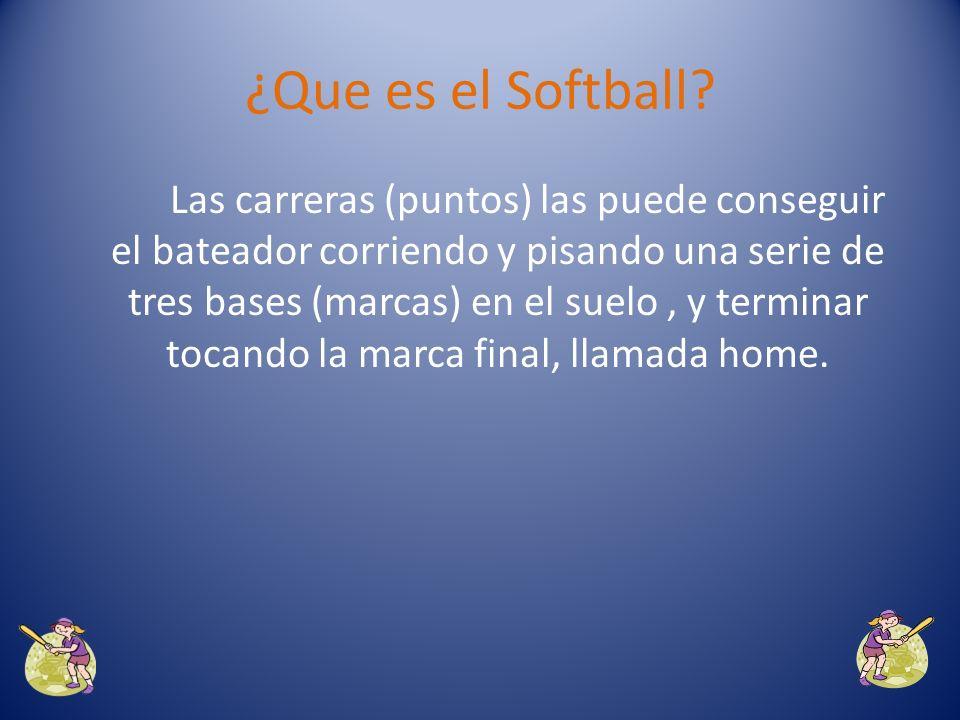 El deporte de softball, es un deporte de equipo en el que una pelota es lanzada por un jugador defensivo llamado pitcher o lanzador y golpeada por un