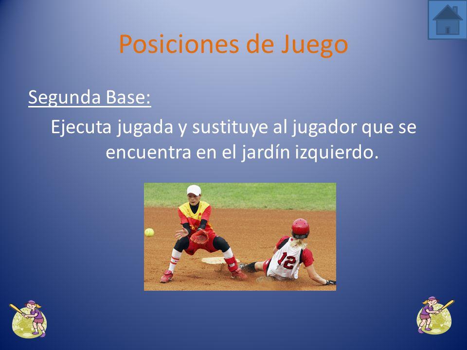 Primera Base: Es quien se encarga de ejecutar un jugada o hacer un doble play. Posiciones de Juego