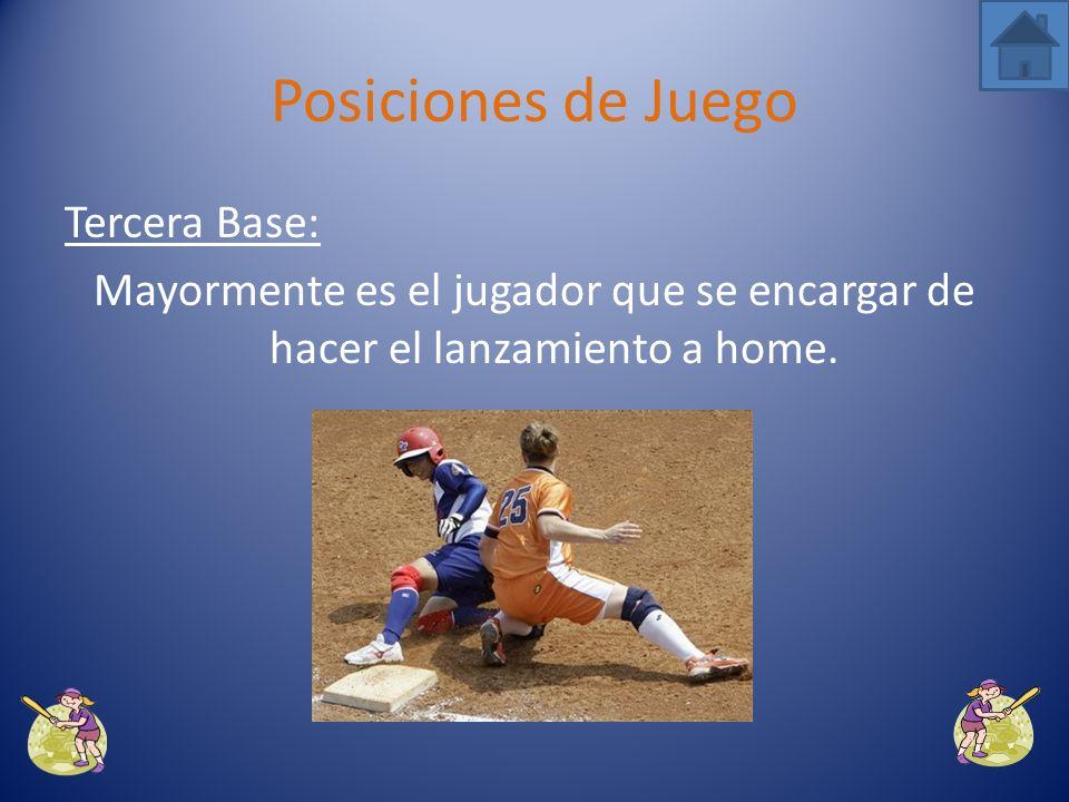 Segunda Base: Ejecuta jugada y sustituye al jugador que se encuentra en el jardín izquierdo. Posiciones de Juego