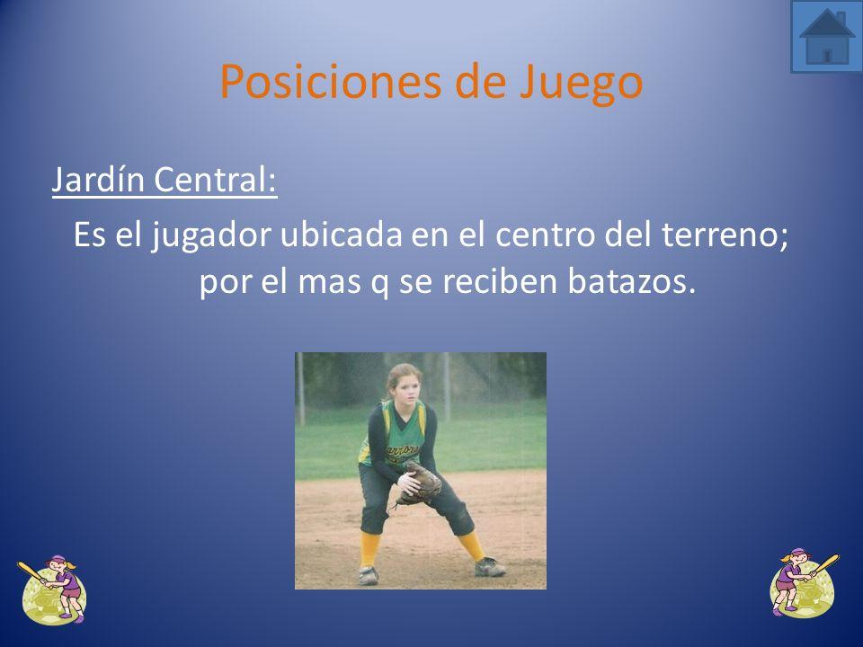 Jardín Derecho: Se mueve hacia la izquierda o derecha depende la ejecución y posición de la pelota. Posiciones de Juego