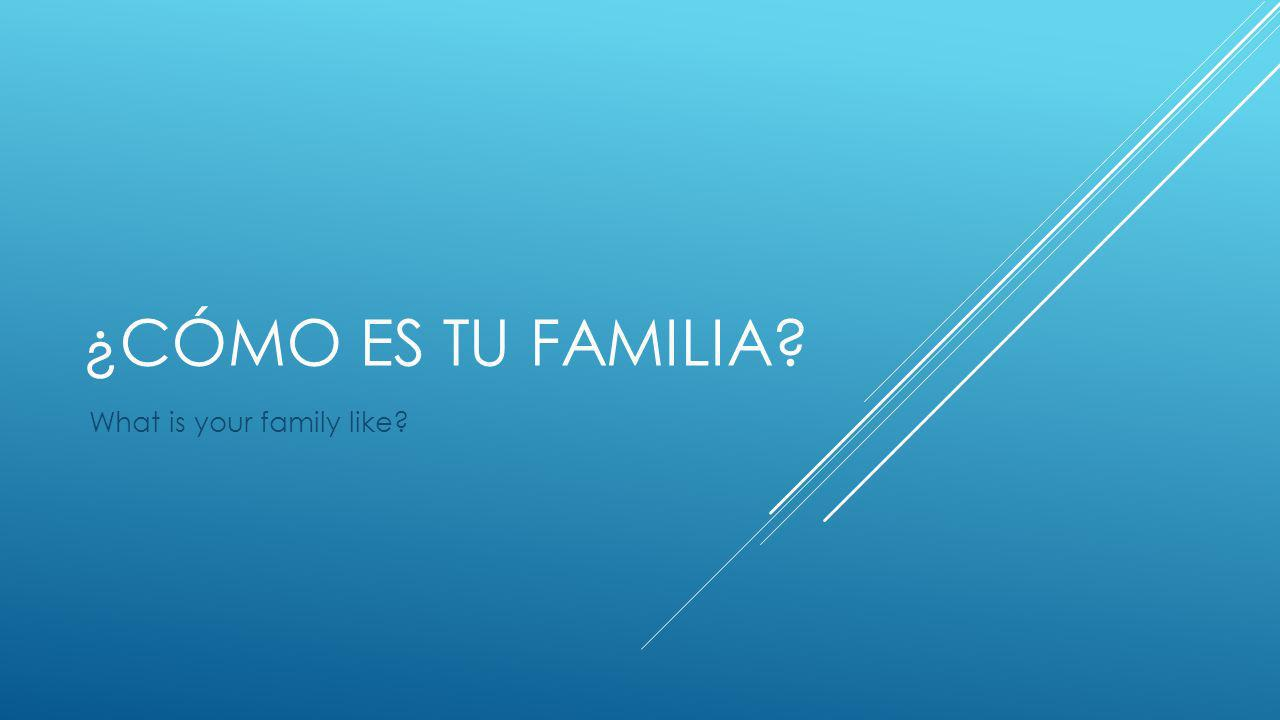 ¿CÓMO ES TU FAMILIA? What is your family like?