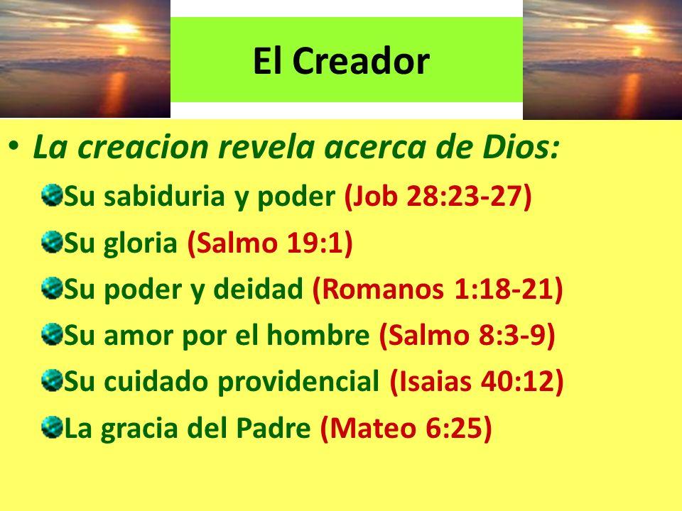 La creacion revela acerca de Dios: Su sabiduria y poder (Job 28:23-27) Su gloria (Salmo 19:1) Su poder y deidad (Romanos 1:18-21) Su amor por el hombr