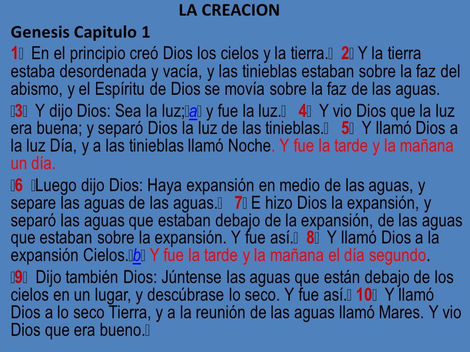 LA CREACION Genesis Capitulo 1 1 En el principio creó Dios los cielos y la tierra. 2 Y la tierra estaba desordenada y vacía, y las tinieblas estaban s