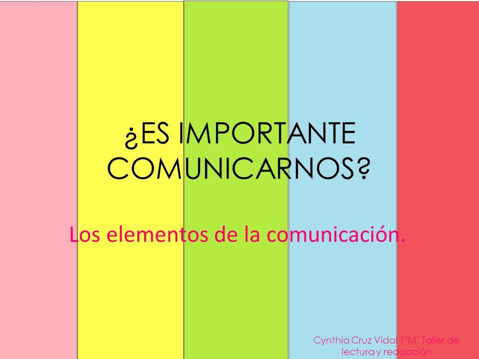 ¿ES IMPORTANTE COMUNICARNOS? Los elementos de la comunicación. Cynthia Cruz Vidal 1