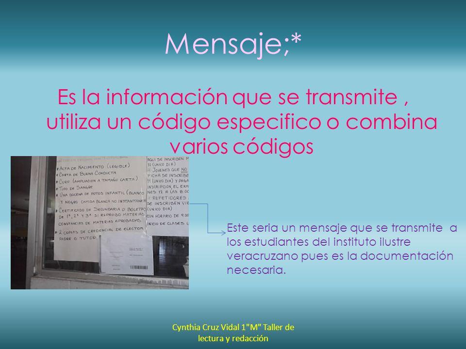 Mensaje;* Es la información que se transmite, utiliza un código especifico o combina varios códigos Este seria un mensaje que se transmite a los estud