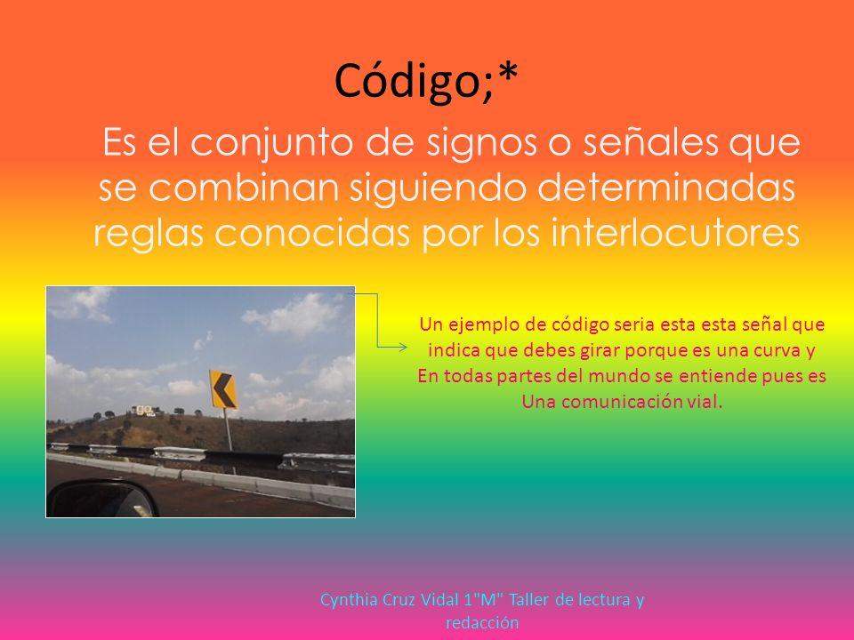 Código;* Es el conjunto de signos o señales que se combinan siguiendo determinadas reglas conocidas por los interlocutores Un ejemplo de código seria