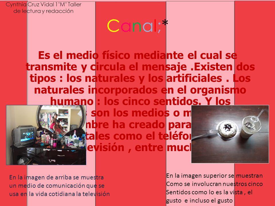 Canal;* Es el medio físico mediante el cual se transmite y circula el mensaje.Existen dos tipos : los naturales y los artificiales. Los naturales inco