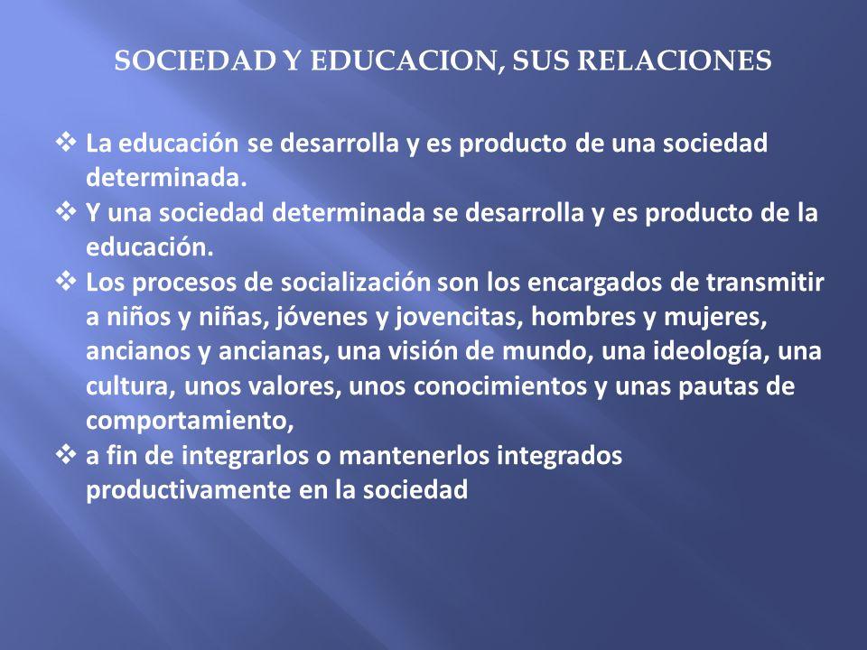 La educación se desarrolla y es producto de una sociedad determinada. Y una sociedad determinada se desarrolla y es producto de la educación. Los proc