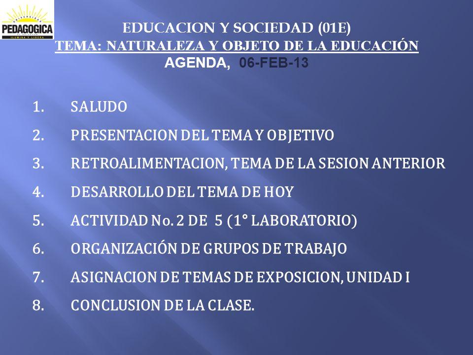 EDUCACION Y SOCIEDAD (01E) TEMA: NATURALEZA Y OBJETO DE LA EDUCACIÓN AGENDA, 06-FEB-13 1.SALUDO 2.PRESENTACION DEL TEMA Y OBJETIVO 3.RETROALIMENTACION