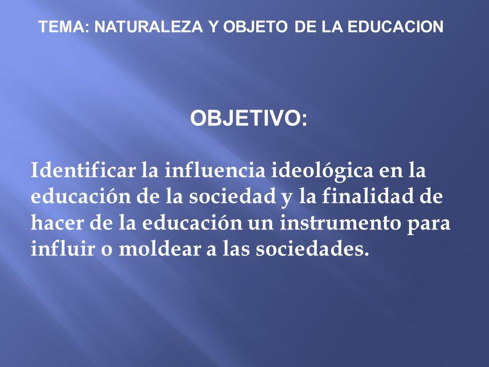 TEMA: NATURALEZA Y OBJETO DE LA EDUCACION OBJETIVO: Identificar la influencia ideológica en la educación de la sociedad y la finalidad de hacer de la