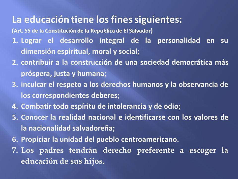 La educación tiene los fines siguientes: (Art. 55 de la Constitución de la Republica de El Salvador) 1.Lograr el desarrollo integral de la personalida