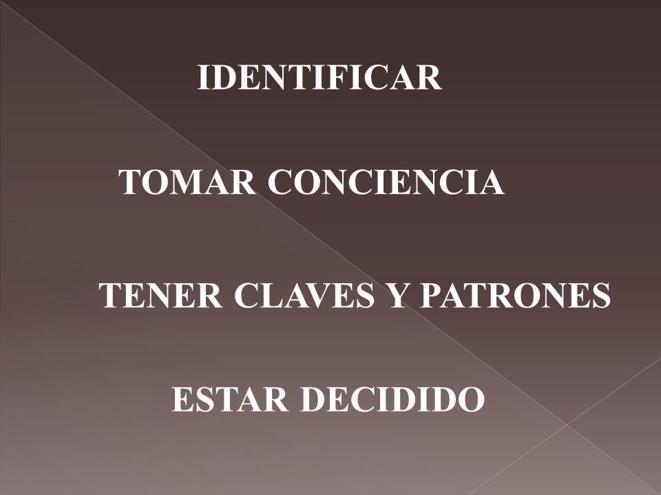 IDENTIFICAR TOMAR CONCIENCIA TENER CLAVES Y PATRONES ESTAR DECIDIDO