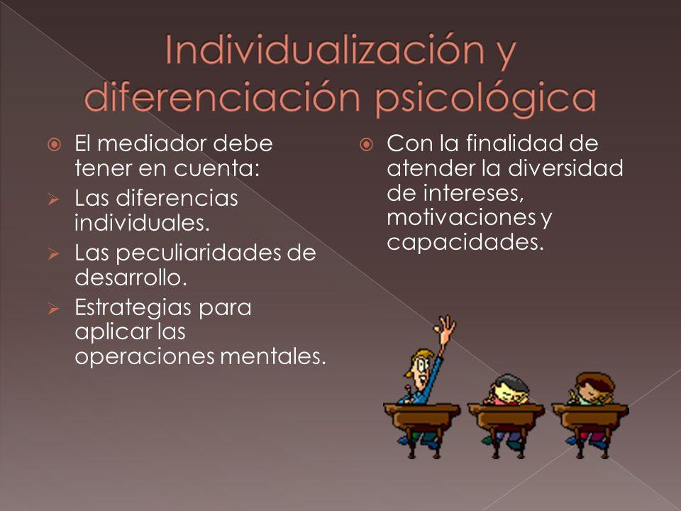 El mediador debe tener en cuenta: Las diferencias individuales.